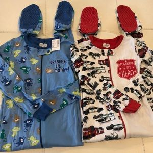NWT Cotton 1 Piece Boys Footed Zip Pajama Bundle